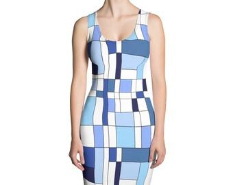 Geomtric Blue Sublimation Cut & Sew Dress