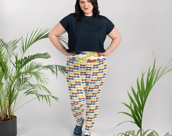 Multicolored Bowties All-Over Print Plus Size Leggings