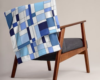Geometric Blue Throw Blanket
