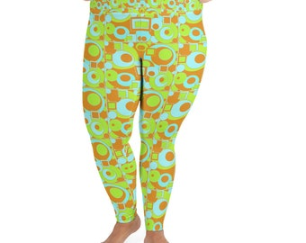Mod Circles and Squares All-Over Print Plus Size Leggings