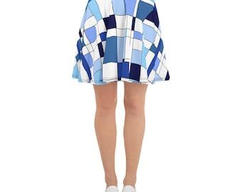 Geometric Blue Skater Skirt