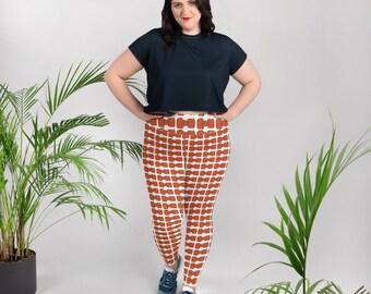 Orange Bowties All-Over Print Plus Size Leggings