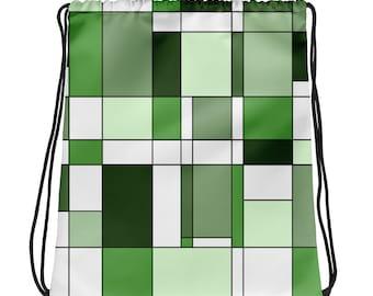 Mondrian Green Drawstring bag