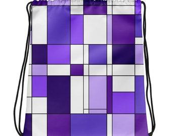 Mondrian Purple Drawstring bag