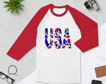 USA Camo 3/4 sleeve raglan shirt
