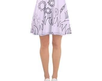 Purple Mechanical Garden Skater Skirt