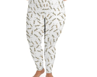 Southwest Striped Lizards All-Over Print Plus Size Leggings