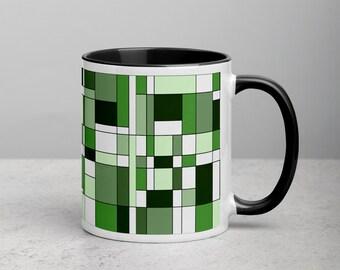 Mondrian Green Mug with Color Inside