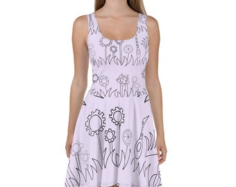 Purple Mechanical Garden Skater Dress