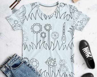 Blue Mechanical Garden Women's T-shirt