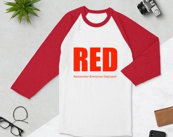 RED 3/4 sleeve raglan shirt