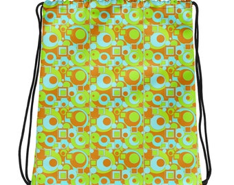 Mod Circles and Squares Drawstring bag
