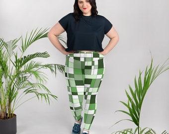 Mondrian Green Plus Size Leggings