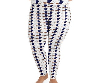 Navy Saddle Shoes All-Over Print Plus Size Leggings