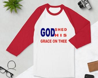 God Shed 3/4 sleeve raglan shirt