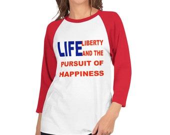 Happiness 3/4 sleeve raglan shirt