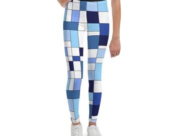 Geometric Blue Youth Leggings