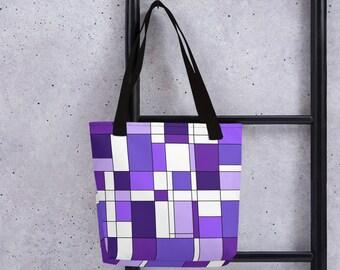 Mondrian Purple Tote bag