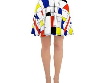 Mondrian Multi Skater Skirt