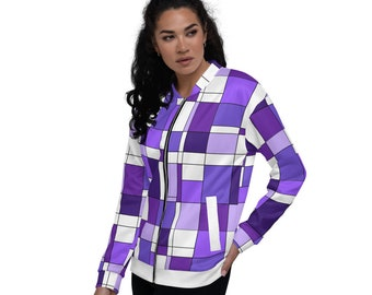 Mondrian Purple Unisex Bomber Jacket