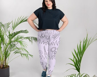 Purple Mechanical Garden All-Over Print Plus Size Leggings