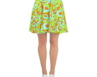 Mod Circle and Squares Skater Skirt