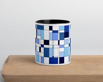 Geometric Blue Mug with Color Inside