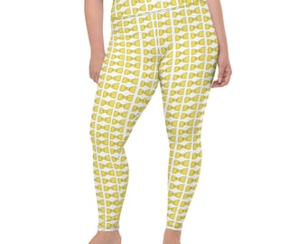 Yellow Bowties All-Over Print Plus Size Leggings