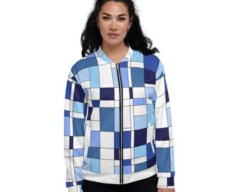 Mondrian Blue Unisex Bomber Jacket