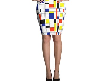 Mondrian Multi Pencil Skirt