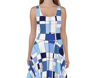 Geometric Blue Skater Dress
