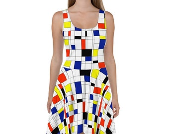 Mondrian Multi Skater Dress