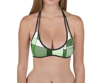 Mondrian Green Bikini Top