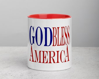 God Bless Mug with Color Inside