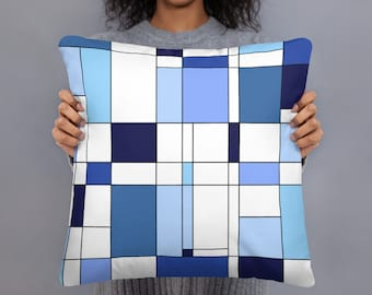 Geometric Blue Basic Pillow