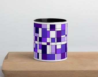 Mondrian Purple Mug with Color Inside
