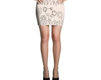 Peach Mechanical Garden Mini Skirt