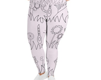 Pink Mechanical Garden All-Over Print Plus Size Leggings