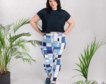 Geometric Blue All-Over Print Plus Size Leggings