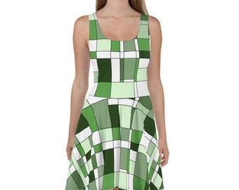 Mondrian Green Skater Dress