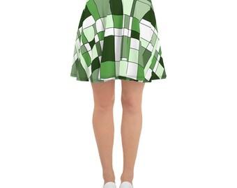 Mondrian Green Skater Skirt