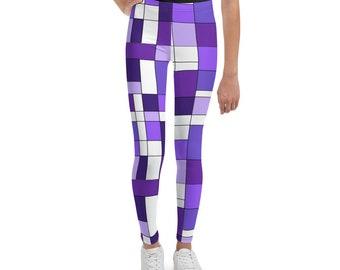 Mondrian Purple Youth Leggings