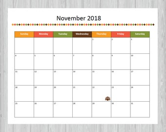 printable november 2018 calendar seasonal monthly calendar editable november calendar thanksgiving calendar instant pdf download