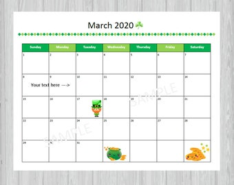 Items Similar To March 2019 Calendar Printable And