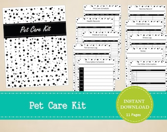 pet vaccine record printable pet care kit pet care etsy