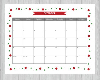 Printable December 2018 Calendar Seasonal Monthly Calendar Etsy