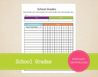 School Grades - Student Planner - Grades Tracker - Printable and Editable - INSTANT PDF DOWNLOAD