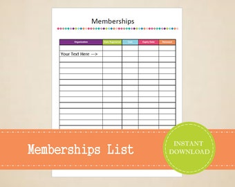 Memberships List - Home Binder - Subscriptions List - Printable and Editable - INSTANT PDF DOWNLOAD