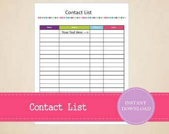 Contact List with Address and Phone Number Section - Moving Planner - Printable and Editable - INSTANT PDF DOWNLOAD