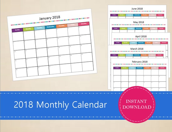 printable 2018 monthly calendar editable 2017 calendar etsy